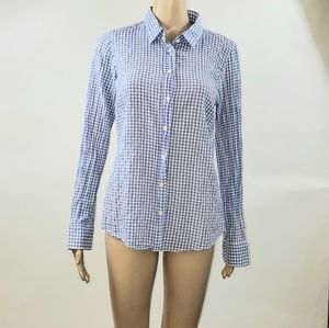 J.Crew Womans Button Up Top Size Small Blue Plaid